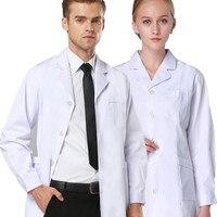 2018 Wysokie Kobiety Mężczyźni Scrubs Biały Fartuch Medyczny Pielęgniarka Lekarz jednolite Lapel Neck Z Długim i Krótkim Rękawem Suknia Dentysta Pracy Garnitury
