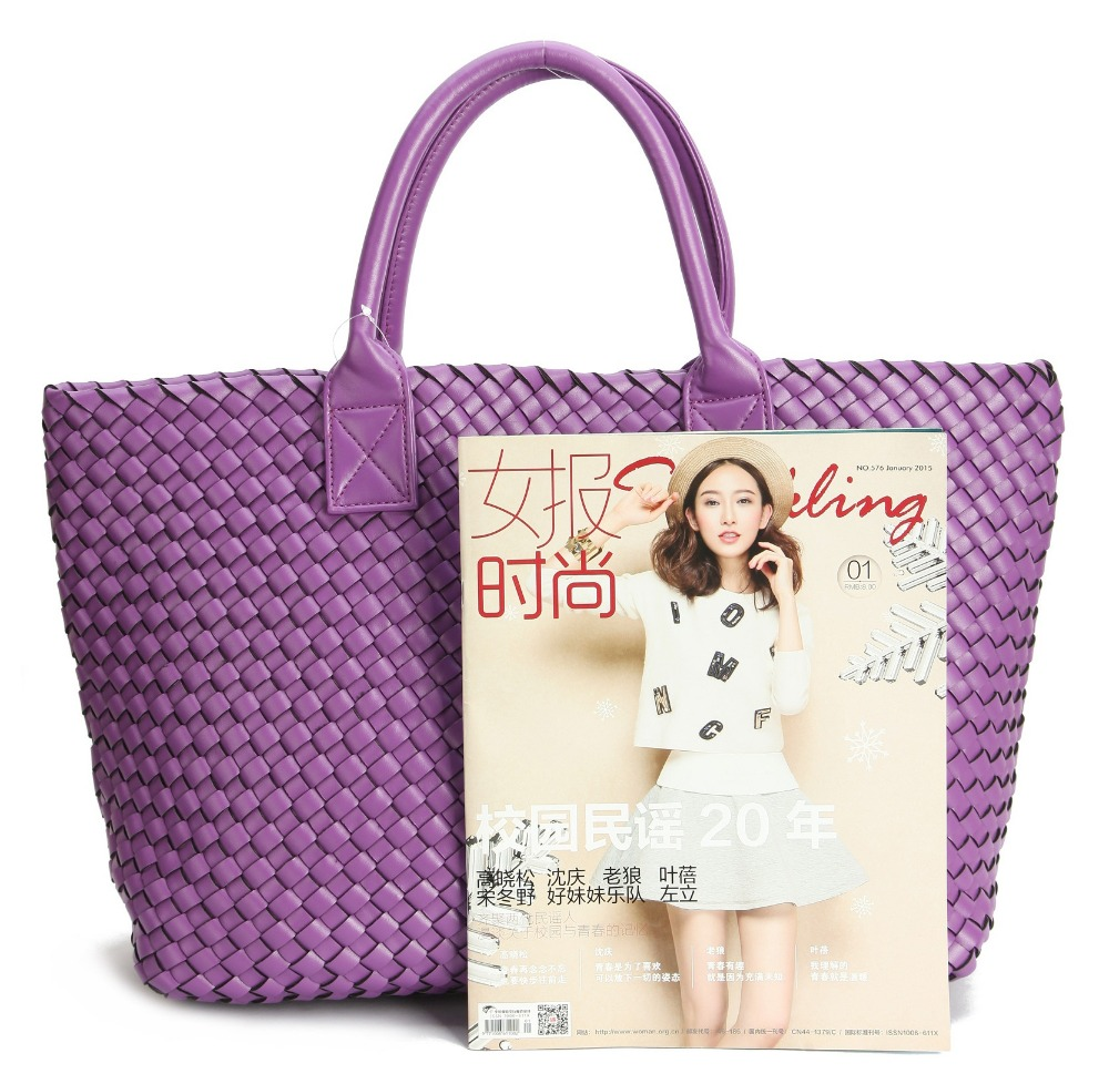 4a1580594d Fashion Luxury premium faux leather WOVEN CABAT tote handbags candy color  women shoulder bags large-in Top-Handle Bags from Luggage   Bags on  Aliexpress.com ...
