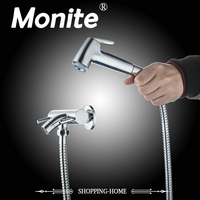 MONITE Bathroom Bathtub Torneira Wall Mounted Chrome ABS Hand Shower Wash Basin Sink Brass Faucet Mixer