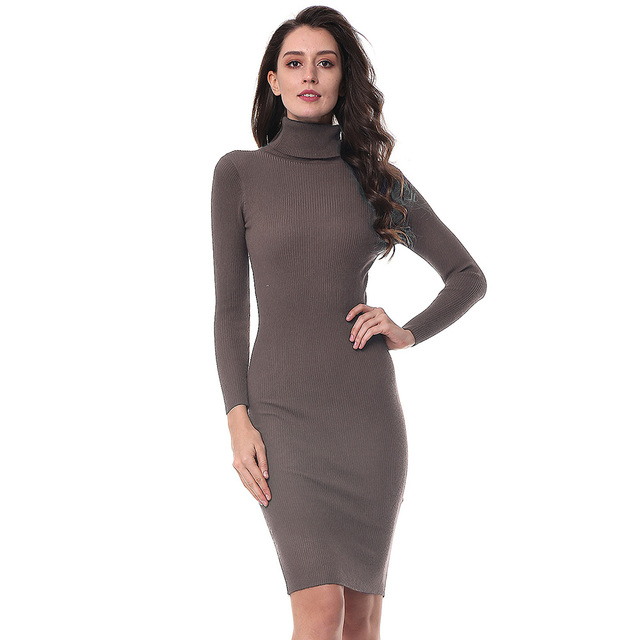 Gamiss Women Autumn Winter Sweater Knitted Dresses Slim Elastic Turtleneck Long  Sleeve Sexy Lady Bodycon Robe Dresses Vestidos 4d951797bf44