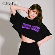 2019 New Black O-Neck Short T Shirt Casual Loose Sleeve T-shirt Letter Printed Basic Cotton Crop Tops Tees Cuteandpsycho