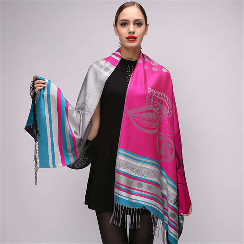 2018 Newest Luxury Brand Scarf Womens Winter Fashion Striped Leaf Print Silk Cashmere Scarf Shawls Pashmina Scarves For Ladies