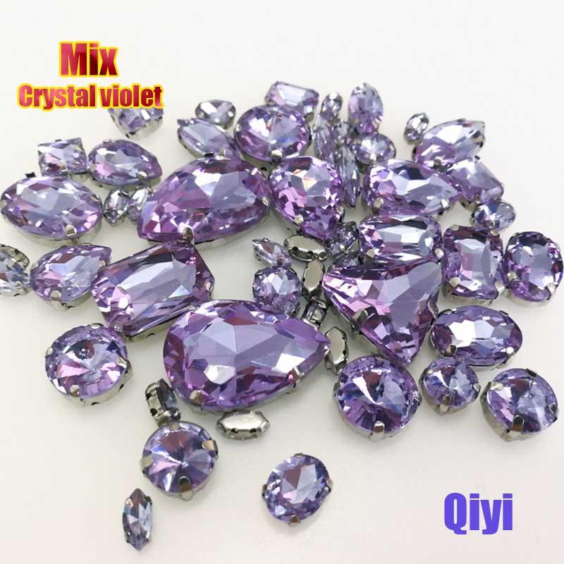 Vendre à perte! 50 pcs/sac de haute qualité forme mixte Cristal violet verre coudre sur griffe strass, bricolage vêtements accessoires SWM018