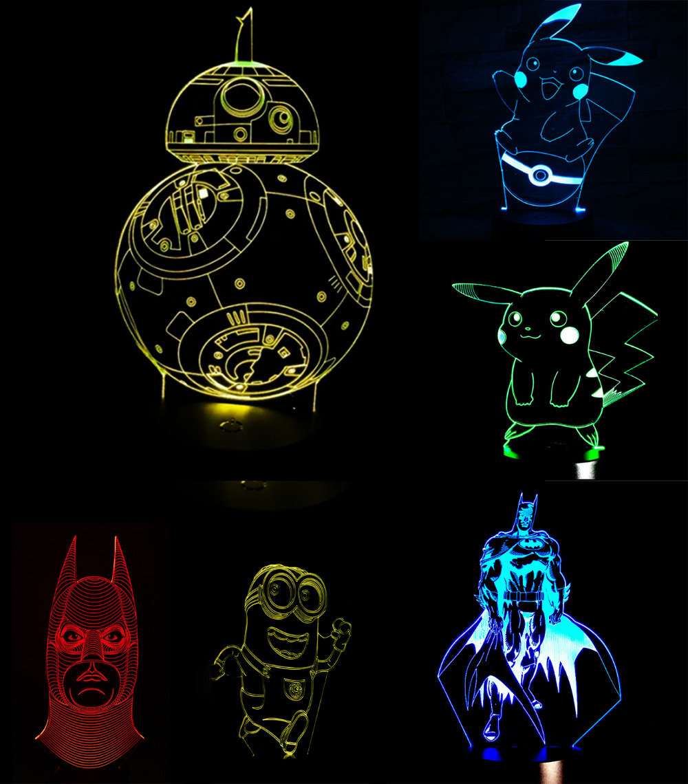 Pokemons Anime Cartoon 3d Usb Led Night Light 7colors Visual Copper Clad Boards 10x15cm 100x150x12mm High Quality For Circuit Pcb Illusion Nightlight Lamp Touch Kids Living Bedroom Table Desk