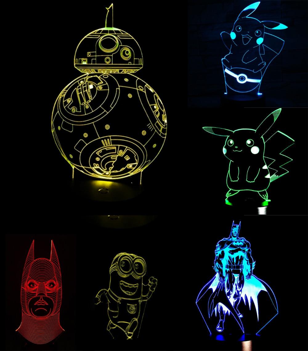 Pokemons Anime Cartoon 3D USB Led night light 7colors Visual illusion Nightlight Lamp Touch Kids Living/Bedroom Table/Desk Light 3d led visual colorful usb table lamp