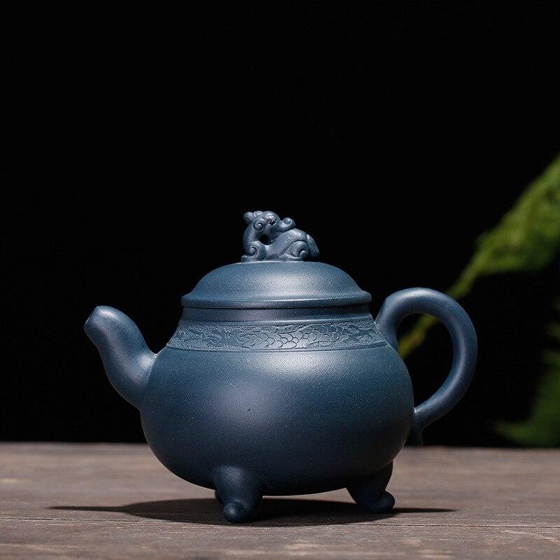320ML Skin three pillar yixing teapot ore purple clay kettle kung fu drinkware suit dahongpao tieguanyin