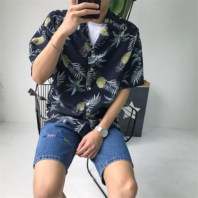 2c277a27 New Hawaiian Shirt Men Casual Men's Shirts Summer Loose Men's Shirts With  Short Sleeves Printed Beach