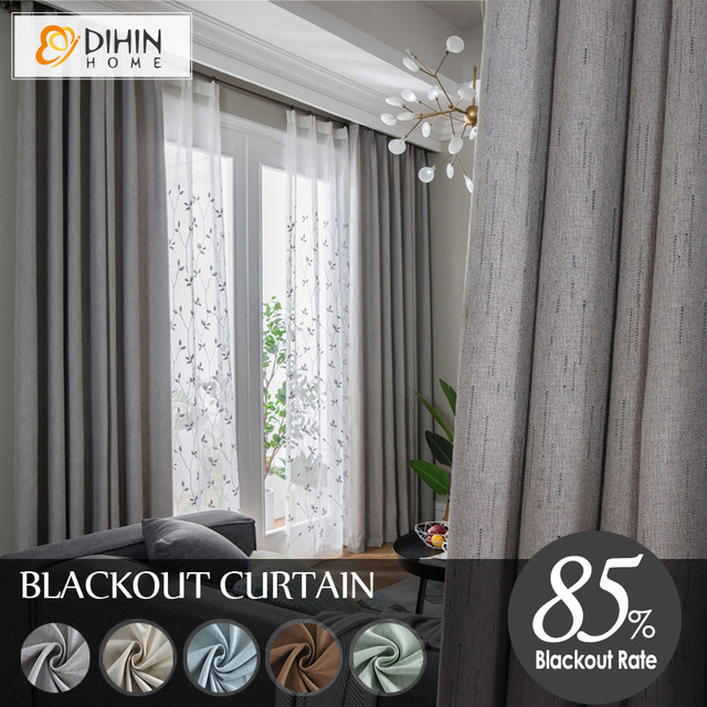 dihinhome 5 kleuren moderne verduisteringsgordijn gordijnen faux linnen gordijnen voor woonkamer custom made window shades