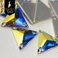 Castelo de cristal Strass Costura 5A Melhor AB Baguette Sew No Cristal De Strass Retângulo Quadrado Buracos de Vidro Strass Para Roupas