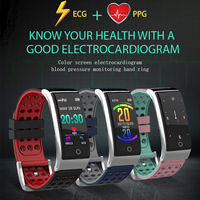 Fitness Bracelet Heart Rate Blood Pressure Measurement Pulsometer ECG Watch Sleep Monitor Pedometer Color LCD Activity Tracker
