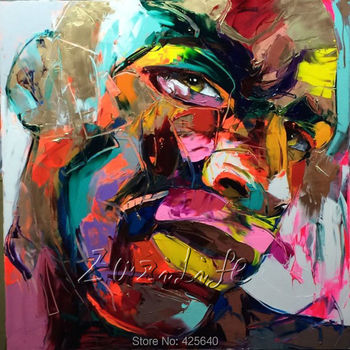 Palette knife painting portrait Palette knife Face Oil painting Impasto figure on canvas Hand painted Francoise Nielly 14-7