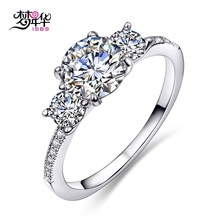 Dreamcarnival 1989 New Style 3 White Synthetic Cubic Zircon Rhodium-Color Wedding Ring for Women Anniversary Gift Anillos Moda