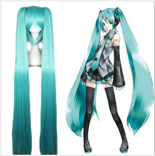 GIRL High Quality VOCALOID Cosplay <font><b>Wig</b></font> Hatsune Miku Costume Play <font><b>Wigs</b></font> Halloween party Anime Game Hair <font><b>150cm</b></font> Aquamarine <font><b>wig</b></font> image