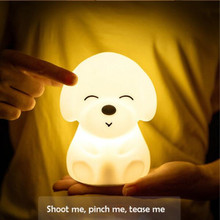 Silicone LED Night Light Creative Puppy Seven Color Touch USB Charging Control Lamp Rechargeable