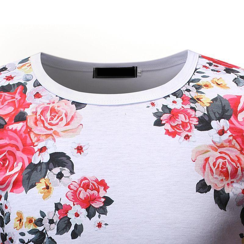 2019 New Men's High Street Short Sleeve t shirt Men Summer Slim Fit Black White Floral Printed T shirt Tops Streetwear M-3XL