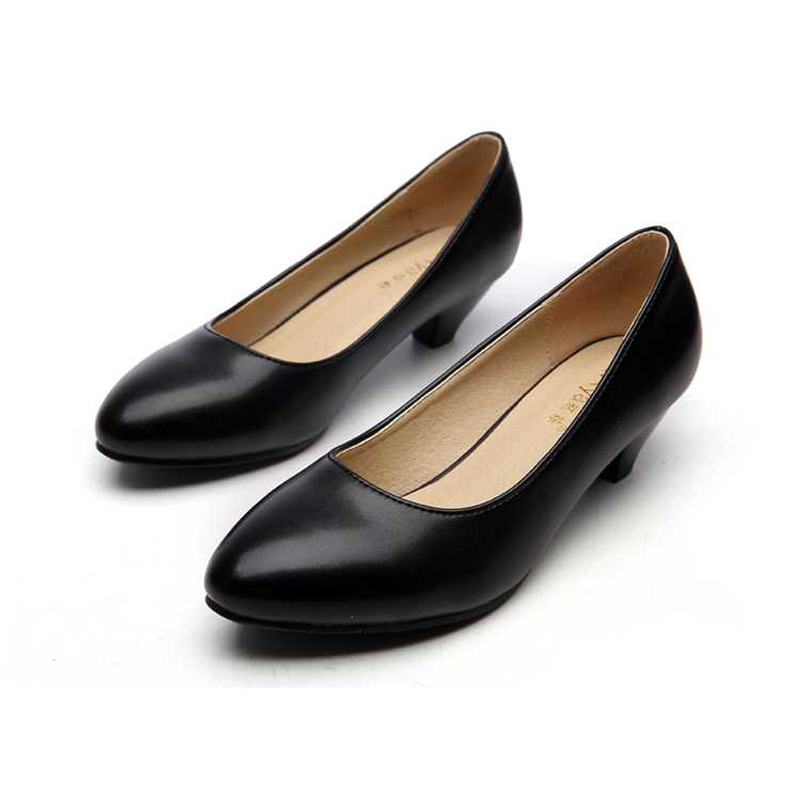 black shoes office career pointed toe square