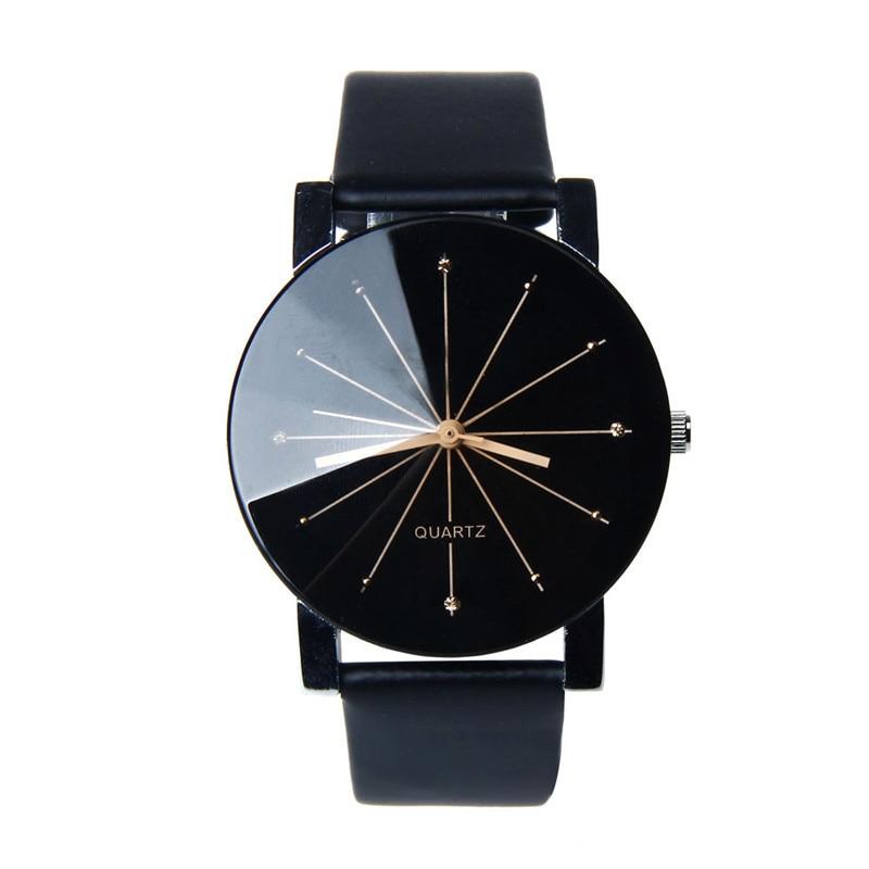 Men Men's Watch 2017 Saat Erkekler Men Quartz Dial Clock PU Leather Wrist Watch Round Case Clock  Women's Watches Dropshipping  недорого