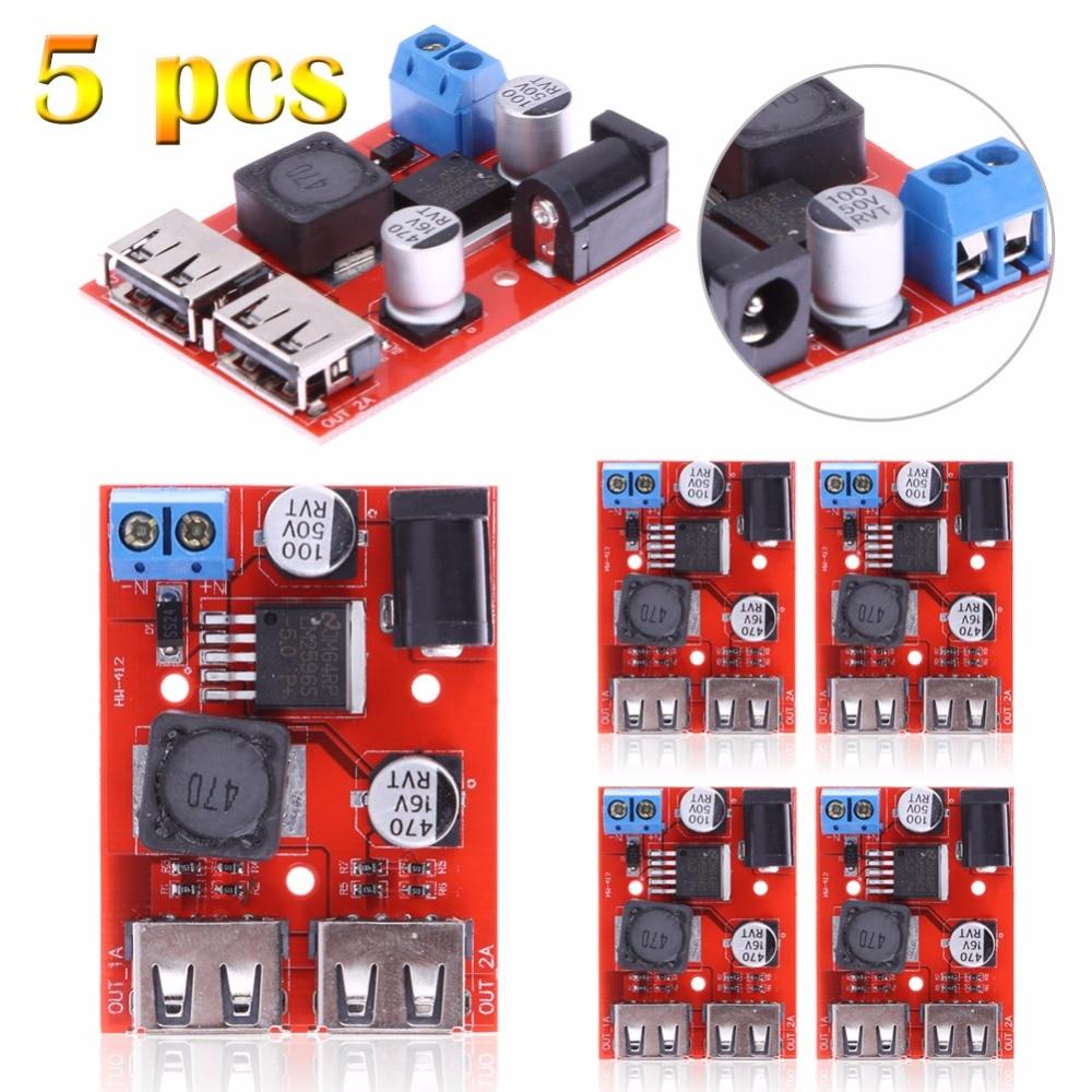 5pcs DC-DC 9/12/24/36V to 5V 3A Dual USB Car Charger Step-down Buck Power Module usb to rs485 module black