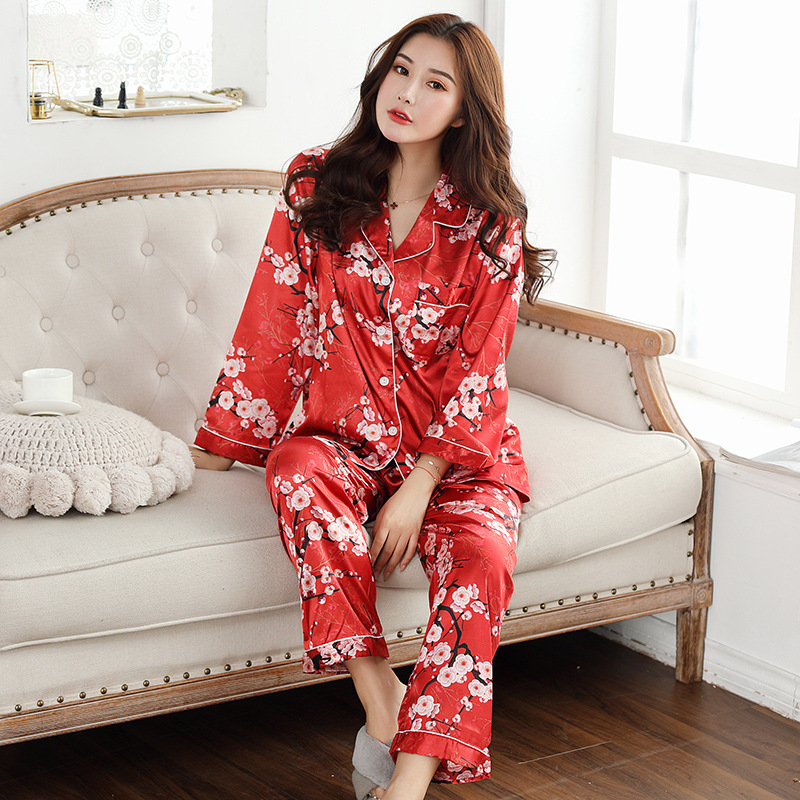 Image 4 - QWEEK Womens Satin Pajama Two Piece Autumn Long Sleeve Women Nightwear Set Cardigan Plus Size Sleepwear Print Loungewear Women-in Pajama Sets from Underwear & Sleepwears
