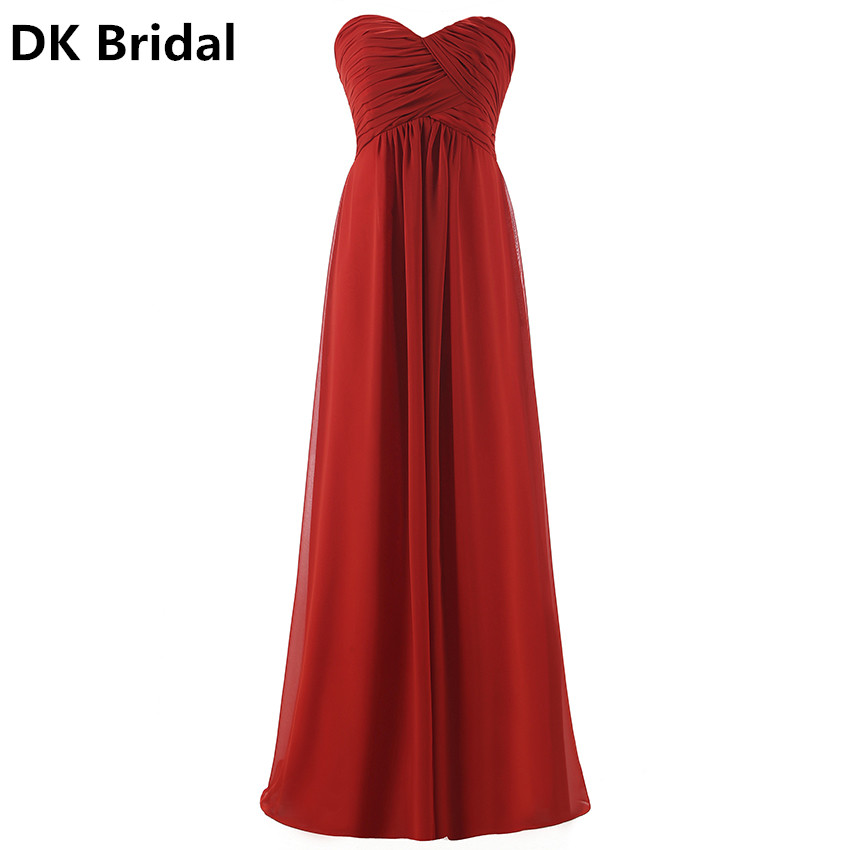 Delicate Chiffon Strapless Plus Size Pink Burgundy Long Bridesmaids Dresses Wedding Party Prom Gown Dress 2019 Wholesale Custom