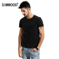 SIMWOOD 2017 Summer New T Shirts Men Embroider Letter Fashion 100 Pure Cotton Vintage O Neck
