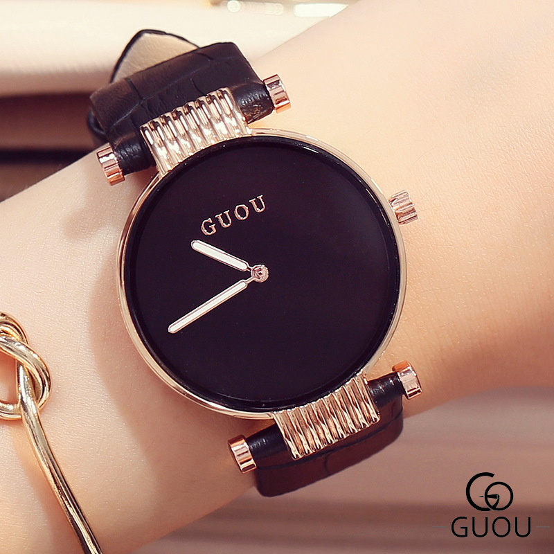 GUOU Brand Luxury Watches Simple Fashion Watch Women Watches Leather Strap Quartz Hour Clock relogio feminino reloj mujer 2017 2017 new brand fashion quartz watch famous women black and white gril clock leather strap watches relogio feminino lz710