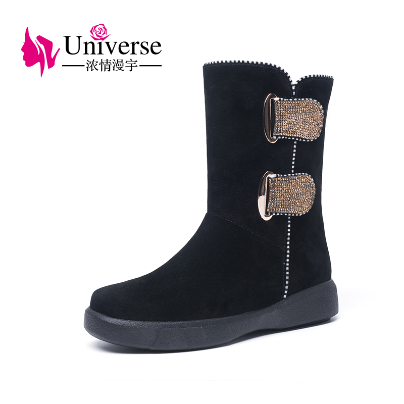 Universe flat women mid calf boots with warm thick wool lining fashion big buckle crystal decoration