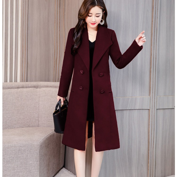Plus Size Autumn Winter Women Long Woolen Coat Elegant Pockets Double-Breasted Cashmere Coat Fashion Slim Office Lady Overcoat