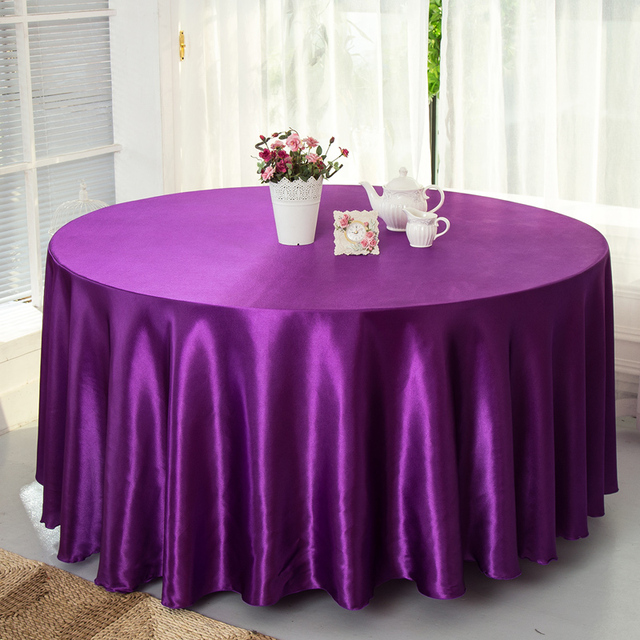 Satin Table Cover Wedding Decorative Round Table Cloth For Banquet Party  Decoration 230 Cm Diameter