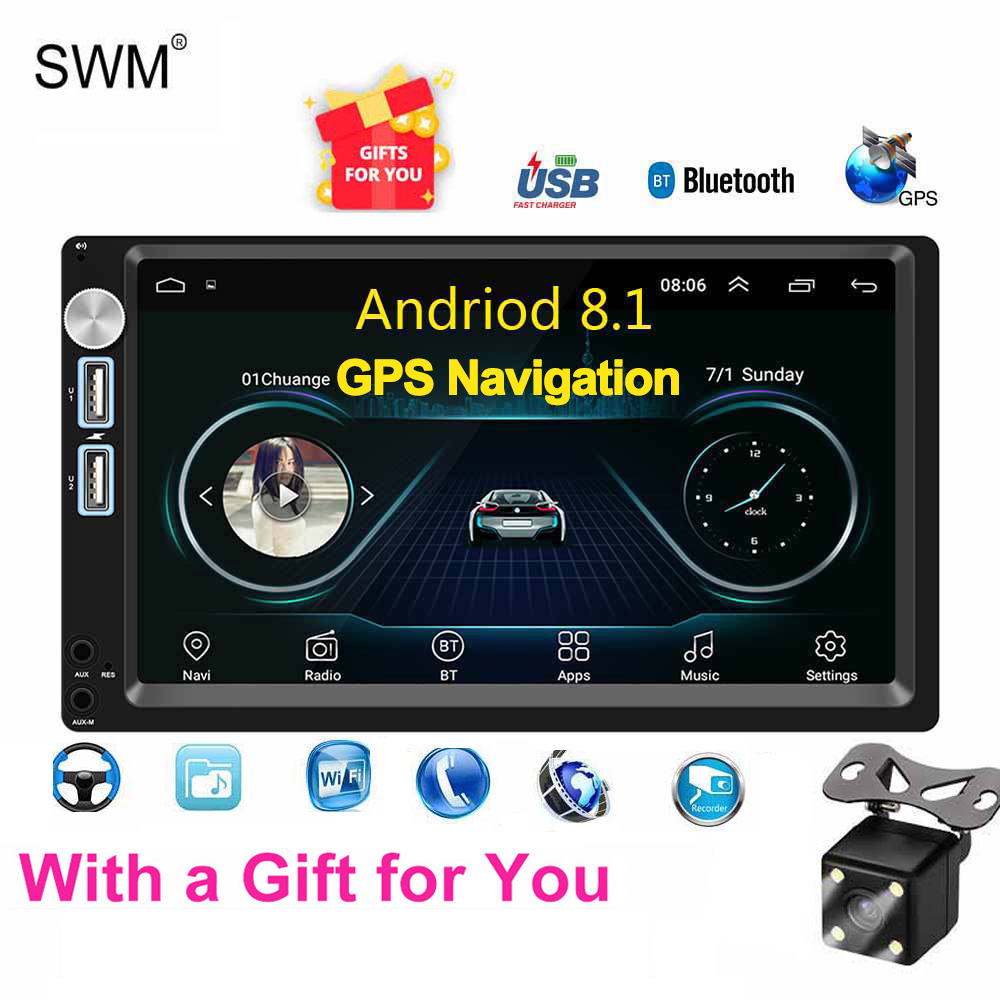 Autoradio SWM Android 8.1 Autoradio 2din MP5 GPS lecteur Cassette 7