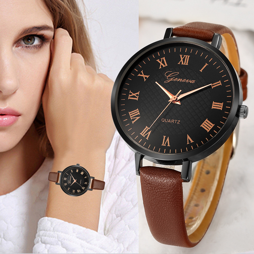 Casual Ladies Watch Leather Belt Analog Quartz Woman Watch Round Dial Waterproof Women'S Watch Dress Ladies Clock Gift Relojes#W
