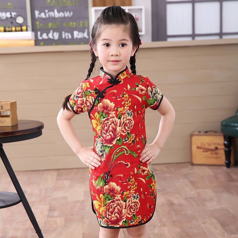 Girls dresses summer 2017 kids dresses for girls Chinese cheongsam Baby elegant clothes Traditional Chinese garments for Child