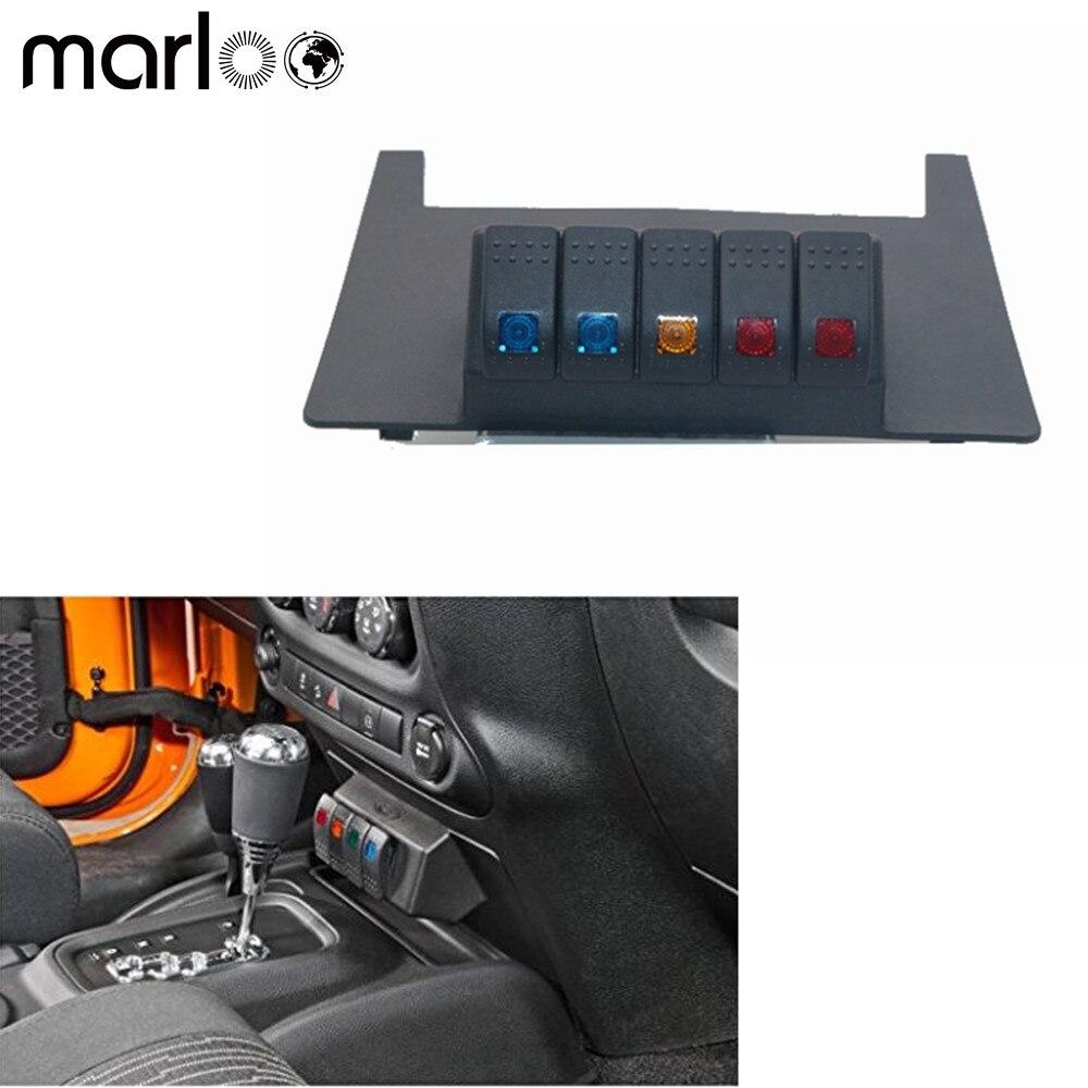 Marloo Car Accessories Lower Switch Panel W/ 5 Rocker Switch For Jeep Wrangler 2011- 2017 Wrangler JK 2WD 4WD Automatic