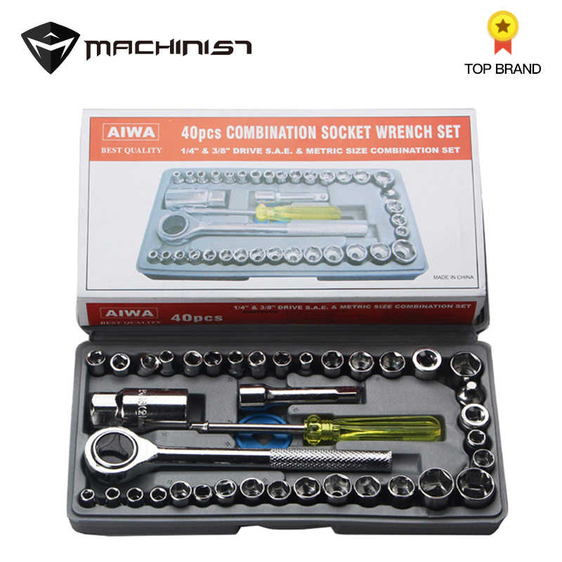 40pcs/Set Wrench Socket Set Emergencytool Car Sleeve Combination Car Screw Removal Installation Tool Auto Motorcycle Repair