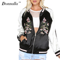 2017 Donnalla Women Casual Coat Color Block Embroidered Flower Phoenix Bird Bomber Jacket Women Long Sleeve Zipper Outwear