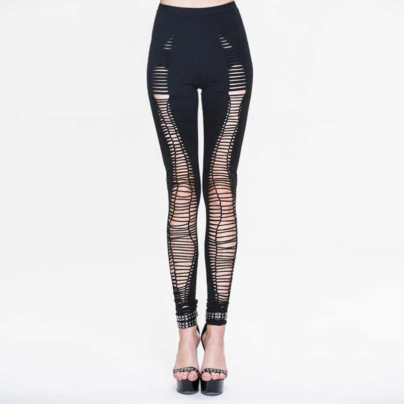 Devil Fashion Punk font b Women b font Sexy Hollow Out Pants Steampunk Black Holes Stretch