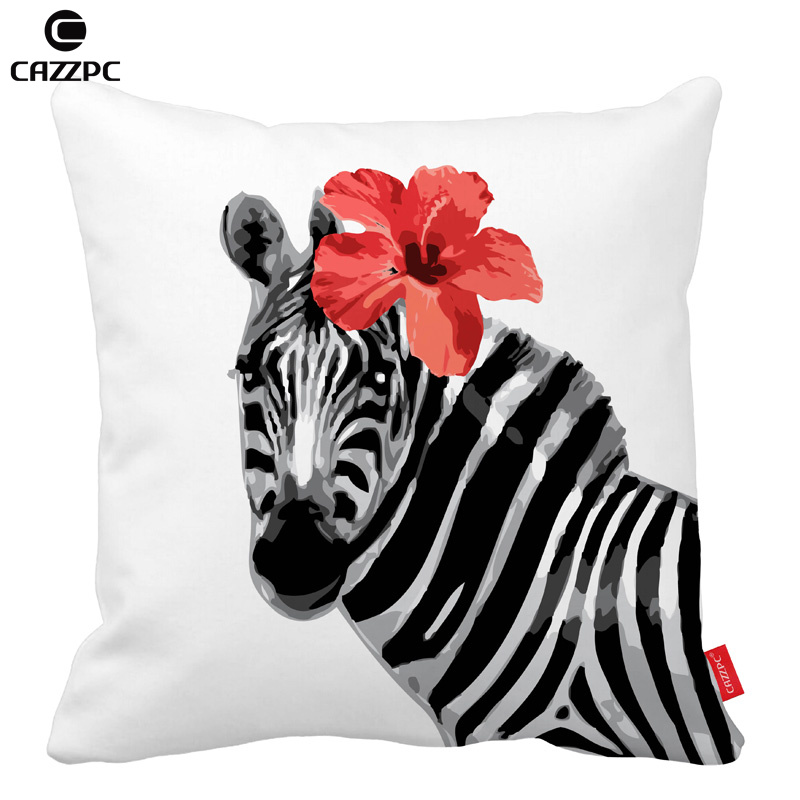 watercolor zebras and red flower print decorative throw pillows cases cushion covers home decor car seat - Red Decorative Pillows