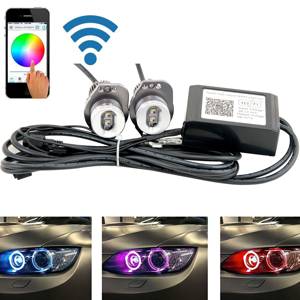 2X RGB Wifi control CREE chips LED Angel Eyes Halo Lights For BMW E90 E91 325i 325xi 328i 328xi 330i 335i 335xi 2005-2008 2x 10w led marker angel eyes wifi control rgb color change led marker light for 2005 2008 bmw e90 e91 pre facelift models
