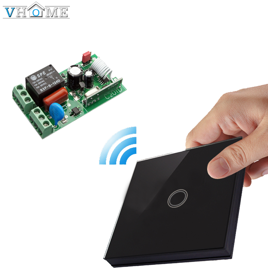 Vhome Wireless touch Button 433MHZ wall panel transmitter remote control Receiver switch For smart home automation 5A 170-220V dc 12v 2ch wireless remote control light switch system mini 2channel receiver with 2pcs 2 button transmitter for smart home