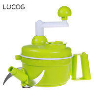 LUCOG Manual Meat Grinders For Vegetable Spice Meat Mincer Cutter With Stainless Steel Blade Egg Mixer