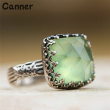Canner Vintage Green Stone Rings For Women Big Engagement Anillos Mujer Natural Crystal Rhinestone Bague Femme Gifts