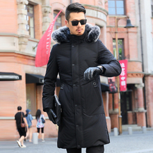 2018 New Men's Winter Jacket 90% White Duck Down Jacket Men with Large Real Fur Collar Hooded Warm Casual Outwear -30C CO135