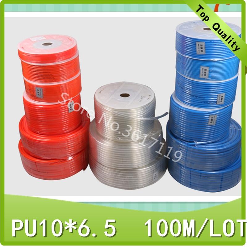 PU10*6.5 100M/LOT Pneumatic tube pneumatic hose for air pressure hose pipe 10MM OD 6.5MM ID PU10 free shipping 10pcs lot pu 6 pneumatic fitting plastic pipe fitting pu6 pu8 pu4 pu10 pu12 push in quick joint connect