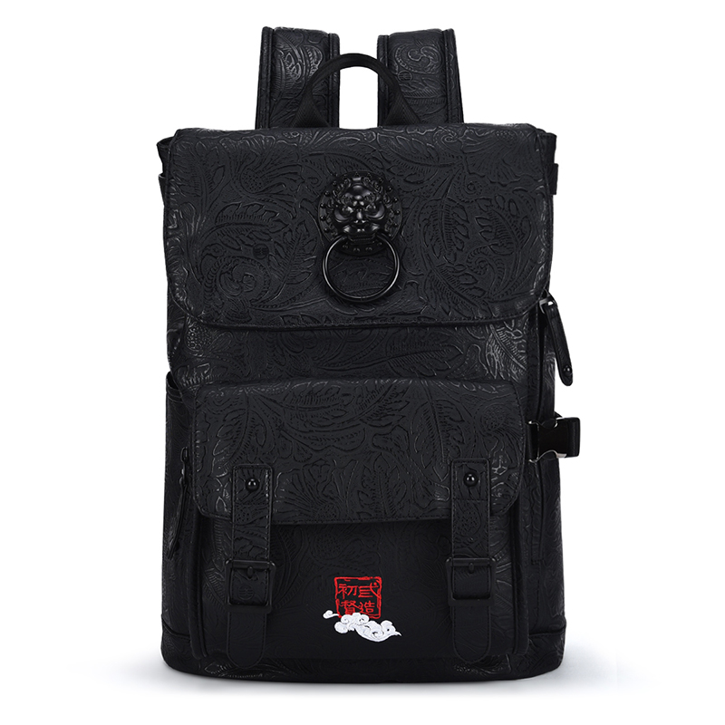 Chinese Style Luxury Brand Men Backpacks Vintage Lion Head Embroidery Printing Male Laptop Back Pack Daily Bookbags