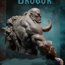 Unpainted-Kit Big Axe Miniature Bust Fantasy Resin Figure Ancient-Orcish 1/10