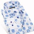 2016 primavera moda impreso para hombre Floral ocasional camisa Formal Wedding negocio Slim Fit marca de ropa de algodón camisas masculinas