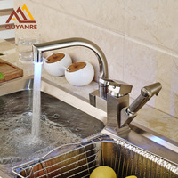 Wholesale And Retail RGB Light Changing Kitchen Mixer Hot And Cold Water Faucet Pull Out Deck