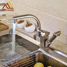 Оптом и в розницу RGB света Изменение смеситель для кухни горячей и холодной воды кран вытащить на бортике коснитесь