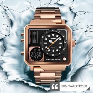Image 5 - למעלה יוקרה Mens שעונים SKMEI מותג ספורט דיגיטלי קוורץ שעון גברים נירוסטה רצועה עמיד למים אופנה מזדמן שעון זכר