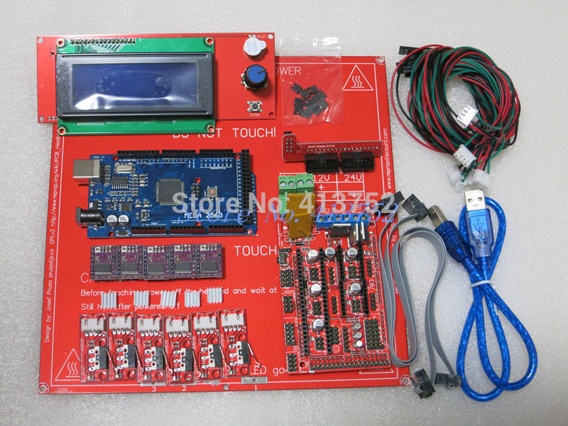 Reprap Ramps 1.4 Kit With Mega 2560 r3 + Heatbed mk2b + 2004 LCD Controller + DRV8825 + Mechanical switch +Cables For 3D Printer